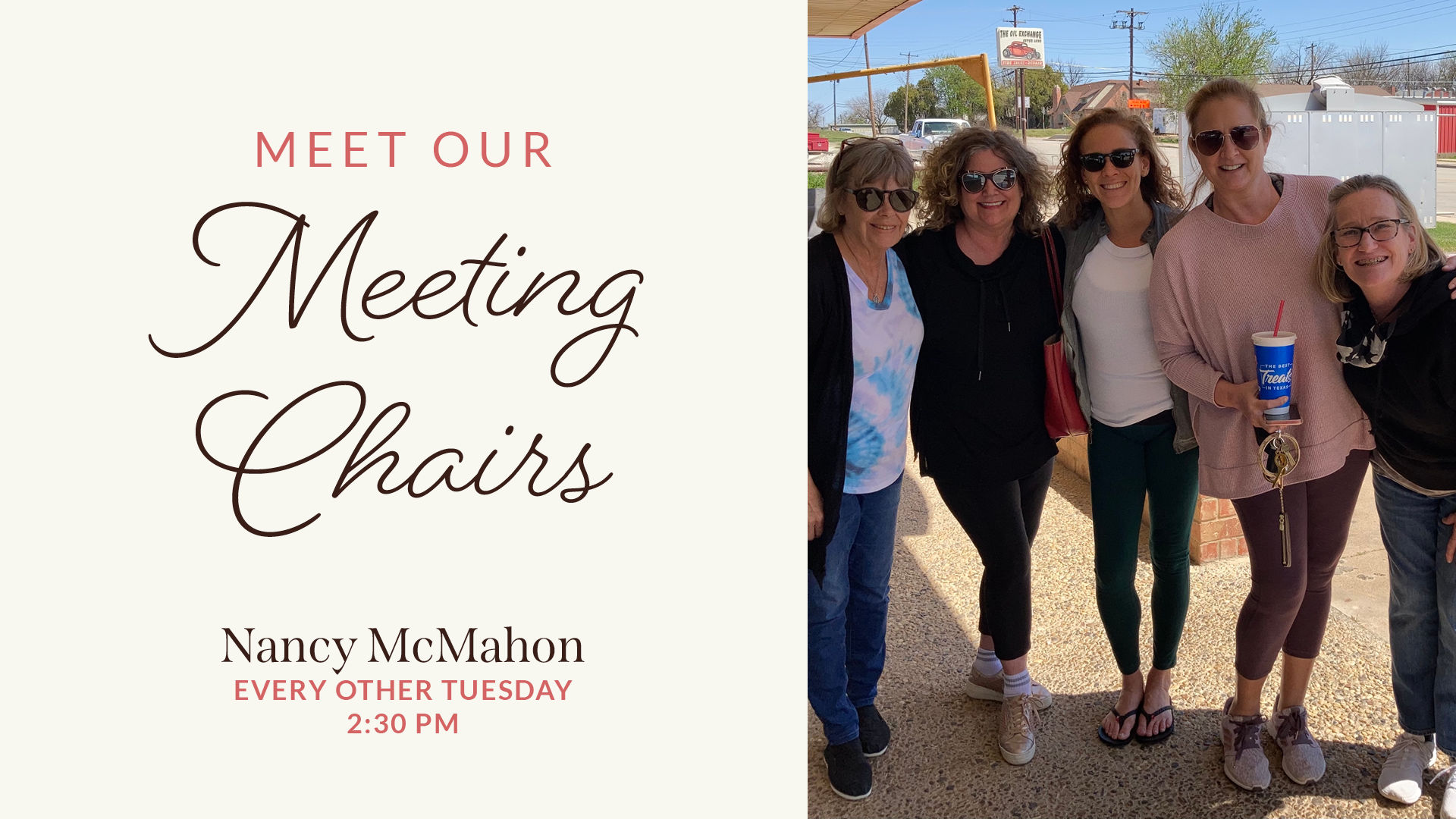 Meet Our Meeting Chairs Title with Nancy McMahon name and meeting time Every other Tuesday 2:30 PM next to photo of Nancy with with program alumnae and sponsees